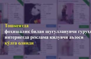 Фоҳишалик билан шуғулланувчи гуруҳни интернетда реклама қилувчи аъзоси қўлга олинди